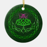 Colourful Celtic Knot Thistle Round Ceramic Decoration