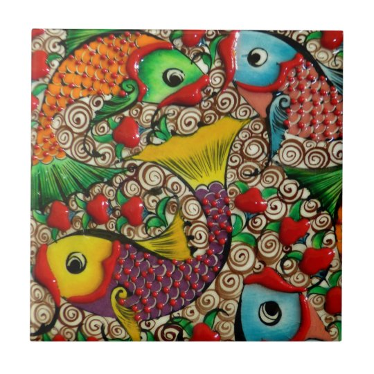Colourful Ceramic Fish Art Tile