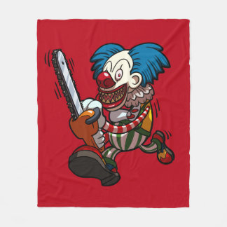 Colourful Chainsaw Clown Halloween Horror Cartoon Fleece Blanket