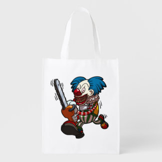 Colourful Chainsaw Clown Halloween Horror Cartoon Reusable Grocery Bag