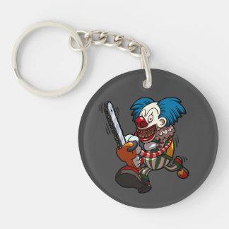Colourful Chainsaw Clown Halloween Horror Cartoon Single-Sided Round Acrylic Key Ring