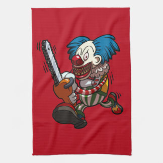 Colourful Chainsaw Clown Halloween Horror Cartoon Tea Towel