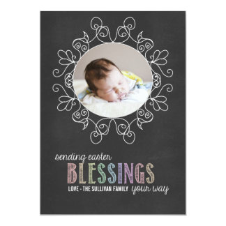 Colourful Chalk   Happy Easter Photo Flat Card 13 Cm X 18 Cm Invitation Card