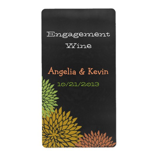 Colourful Chalkboard Engagement Wine Labels