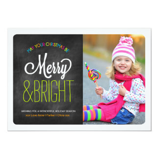 Colourful Chalkboard Merry and Bright Photo Cards 13 Cm X 18 Cm Invitation Card