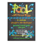 Colourful Chalkboard Pool Party Invitations 13 Cm X 18 Cm Invitation Card