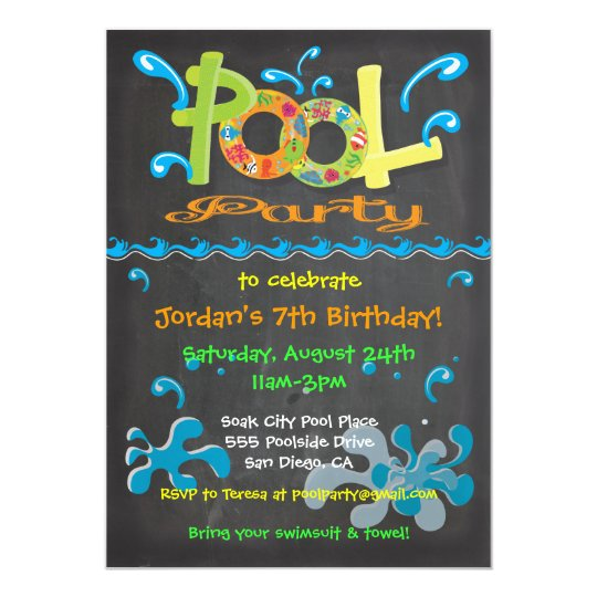 Colourful Chalkboard Pool Party Invitations