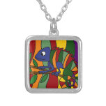 Colourful Chameleon Abstract Square Pendant Necklace