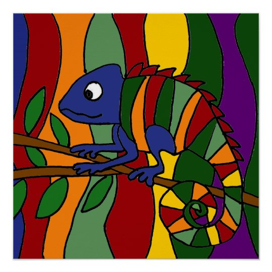 Colourful Chameleon Art Abstract Poster