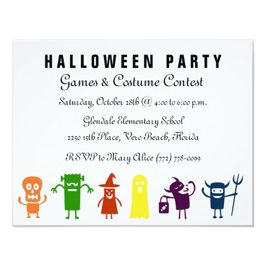 Colourful Characters Kids Halloween Costume Party Card