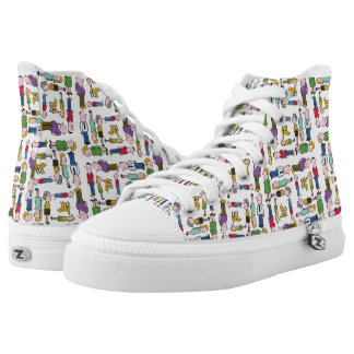 Colourful characters patterned high tops