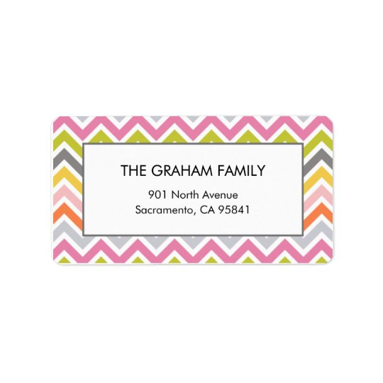 Colourful Chevron Address Labels