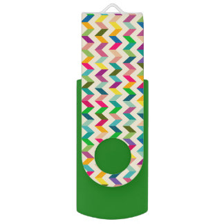 Colourful chevron green usb USB flash drive