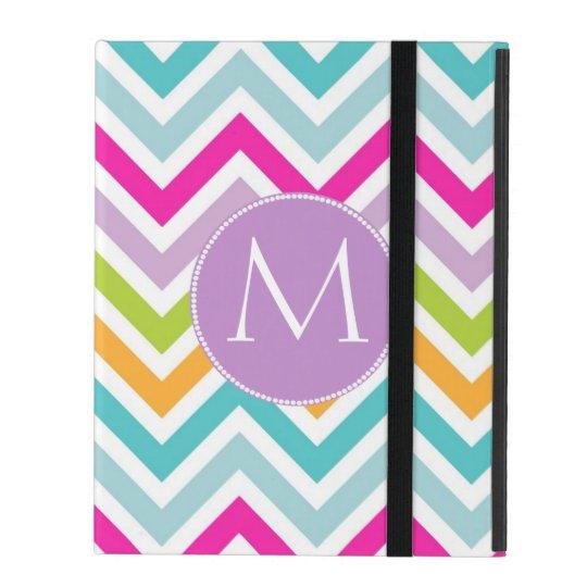 Colourful Chevron Monogram iPad Case