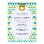 Colourful Chevron Owl Baby Shower Invitations