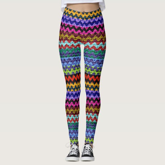 Colourful Chevron Pattern Burlap Look #10 Leggings