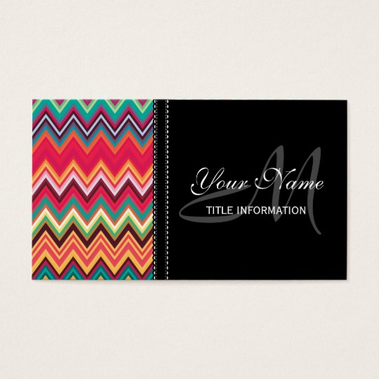 Colourful Chevron Pattern Business Card