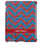 Colourful Chevron Pattern with Bricks Red Blue iPad Case