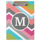 Colourful Chevron Pattern with Custom Monogram Clipboard