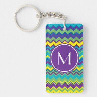 Colourful Chevron Pattern With Monogram Double-Sided Rectangular Acrylic Key Ring