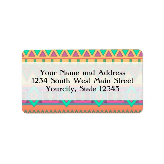 Colourful Chevron Zig Zag Tribal Aztec Ikat Label