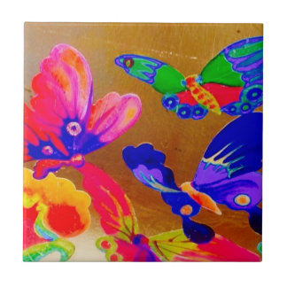 Colourful Chinoiserie Butterfly tile 3