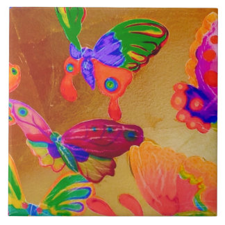 Colourful Chinoiserie Butterfly Tile 4