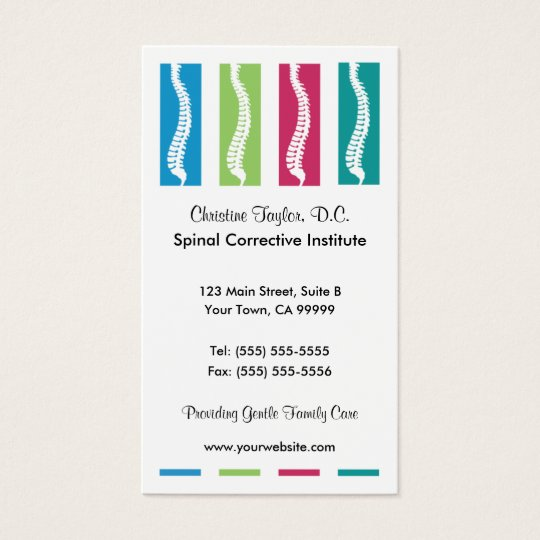 Colourful Chiropractic Business Cards
