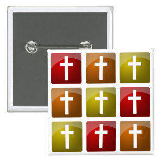 Colourful Christian Crosses 15 Cm Square Badge