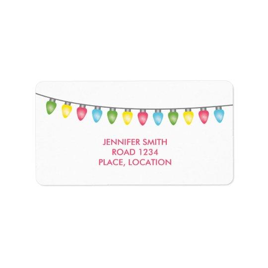 Colourful Christmas Lights Address Label