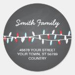 Colourful Christmas Lights Address Label Round Sticker