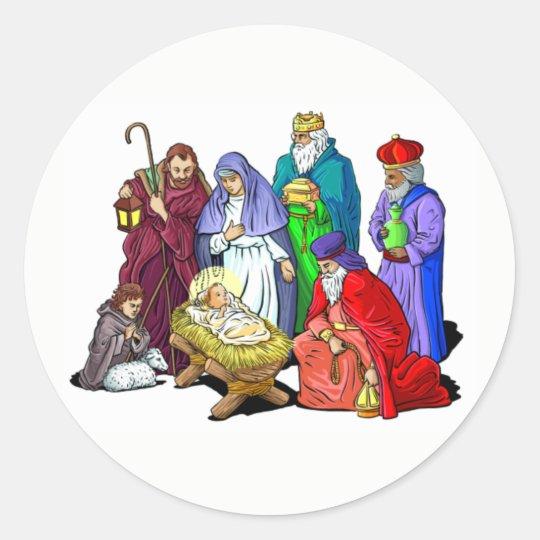 Colourful Christmas Nativity Scene Classic Round Sticker