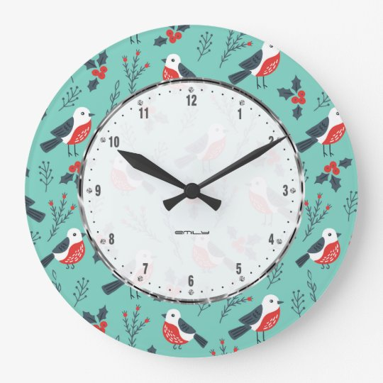 Colourful Christmas Pattern With Cute Birds Large Clock
