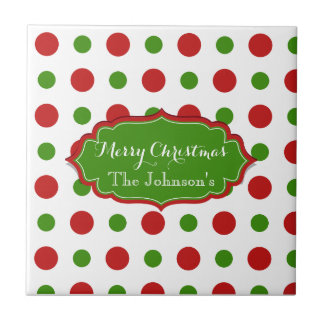 Colourful Christmas red and green Polkadots Small Square Tile
