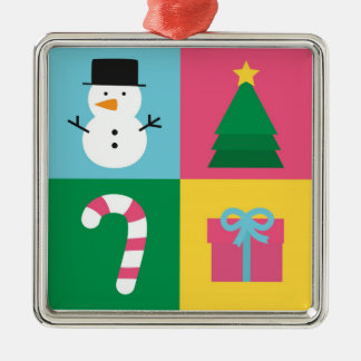 Colourful Christmas with Snowman, Tree, Candy Silver-Colored Square Decoration