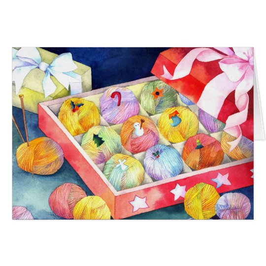 Colourful Christmas Yarn Ball Gift Box Card