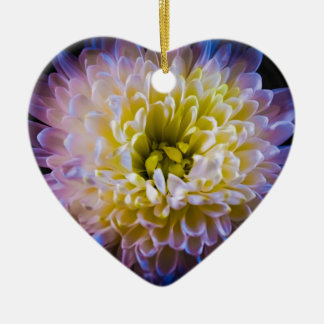 Colourful chrysanthemum ceramic heart decoration