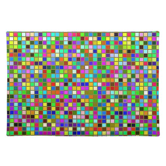 Colourful Chunky Olive Green Square Tiles Pattern Placemat