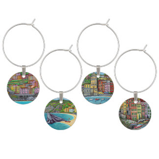 Colourful Cinque Terre - Set of 4 Wine Charms