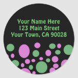 Colourful Circles Address Label Round Stickers