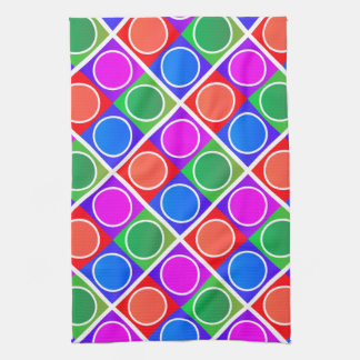 Colourful Circles and Squares Pattern Tea Towel
