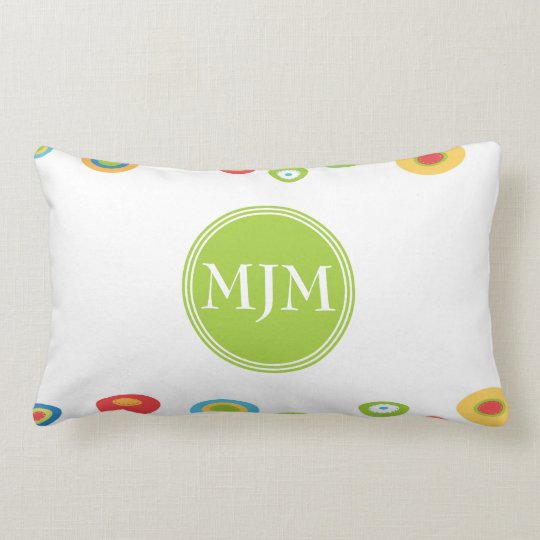 Colourful Circles Monogram Lumbar Pillow