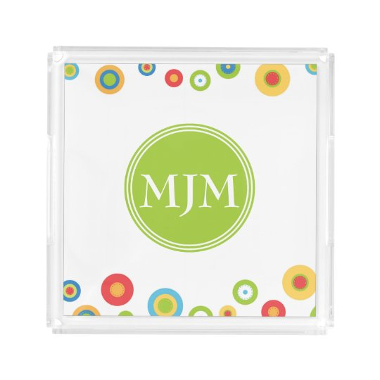 Colourful Circles Monogram Square Acrylic Tray