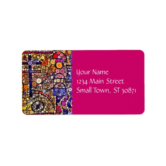 Colourful Circles Mosaic Southwestern Cross Design Label