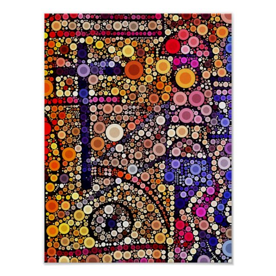 Colourful Circles Mosaic Southwestern Cross Design Poster