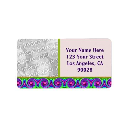 colourful circles photo frame address label