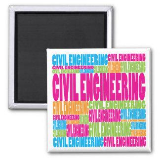 Colourful Civil Engineering Square Magnet