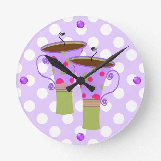 Colourful Coffee Mugs Kitchen Wall Clock