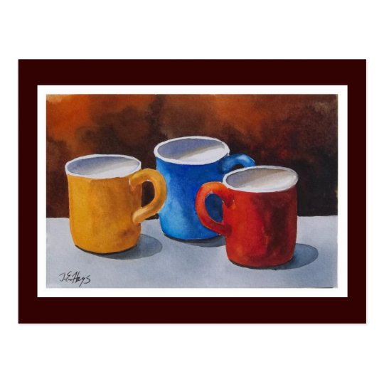 Colourful Coffee Mugs Postcard