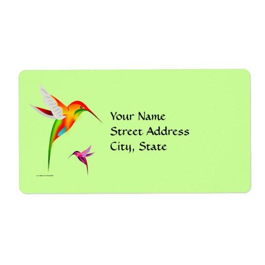 Colourful Colibri Birds Shipping Label
